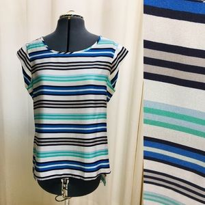 The Limited Cap Sleeve Blue & Teal Striped Blouse